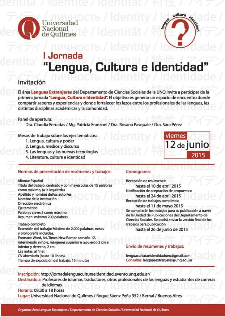 I Jornada lengua cultura e identidad